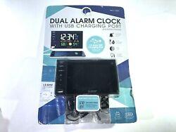 La Crosse Technology Multi-Color dual Alarm Clock usb Charging Port #733321