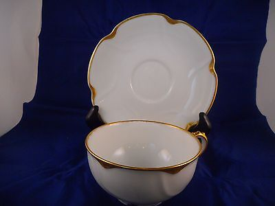 Cup and Saucer, Theodore Haviland Limoges, Schleiger 805, Gold Daubs