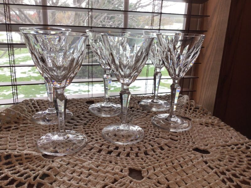"6 Rare Josair Edith Crystal 5 7/8"" Wine Glasses Signed"