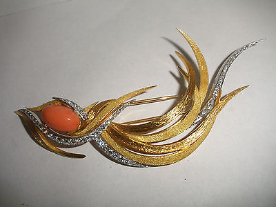 Exquisite vintage Jean Ete 18k gold diamond coral flame big brooch 1960s French