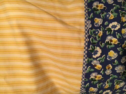 Laura Ashley Yellow Blue Floral Gingham/Polyanthus/Priory Twin Flat Sheet ~Nice
