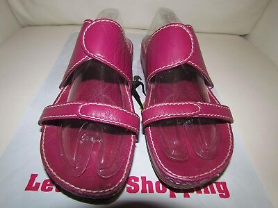 (Florence Girardier  Leather Lug Sole Heel Slide Sandals/ color wine size 40 )