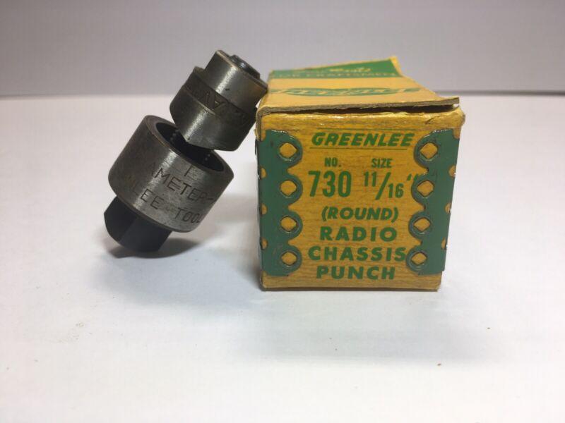 "Vintage GREENLEE No. 730 11/16"" Radio Chassis Punch w/ Original Box"
