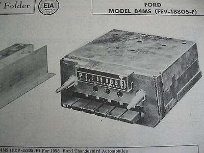 1958 FORD THUNDERBIRD 84MS, FEV-18805-F RADIO PHOTOFACT