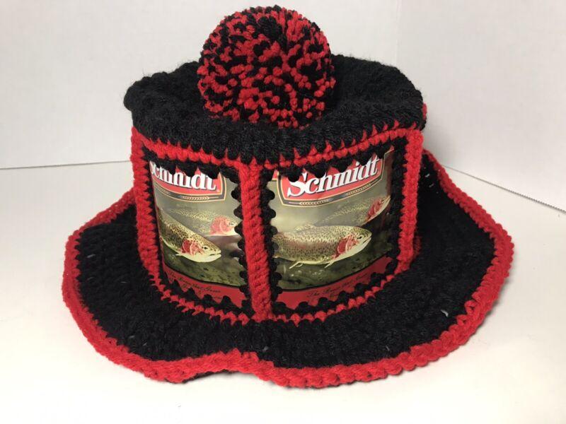 Handmade Crochet SCHMIDT Beer Can Hat Retro Hipster Party Cap Fish