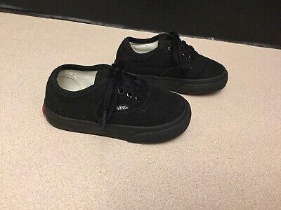 Toddler Vans Black Canvas Shoes. Size 6C. Great Condition!!!