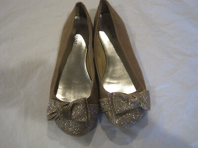 Alfani Tan Suede with Gold Glitter Toe & Bow Flats~Size 6.5~LBDLO](Glitter Flats With Bow)