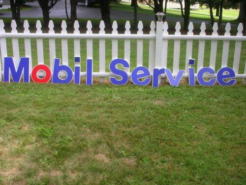 """VINTAGE Mobil Oil Gas Station """"MOBIL SERVICE LETTER SIGN""""  1990 NOS"""
