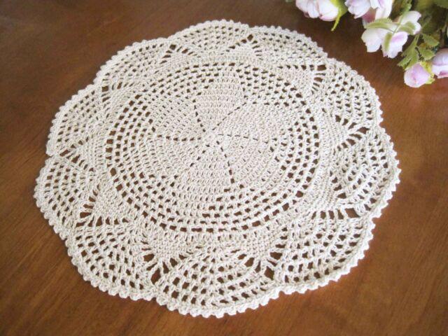 Vintage Style Floral Hand Crochet Cotton Beige Doily NEW