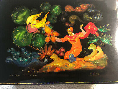 """PALEKH RUSSIAN LACQUER BOX Fairbierd 7""""x5""""HAND PAINTED NEW"""