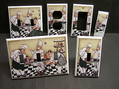 FAT CHEF PASTRY AND DOG   HOME DECOR LIGHT SWITCH COVER PLATE  OR OUTLET