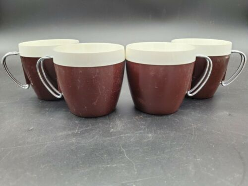 Vintage N.F.C. Brown Chrome Cups Mid Century Insulated Plastic Mugs set of 4