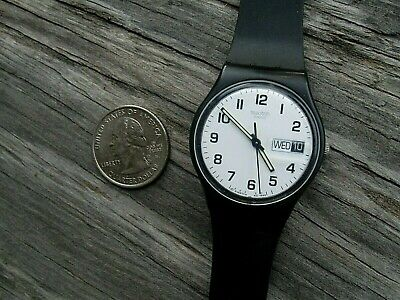 SWATCH SWISS   1999 MENS DAY DATE BLACK 34MM NEW BATTERY   FREE SHIP USA