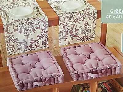 2er Set Sitzkissen Bodenkissen Indoor Outdoor Stuhlkissen 40 x 40 cm Berry/Rosa Rosa Kissen 2-er Set