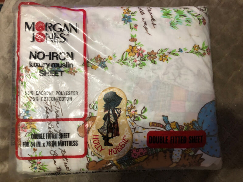 Vintage Holly Hobbie Double Fitted Sheet Linens 1970s Fabric Morgan Jones-Sealed