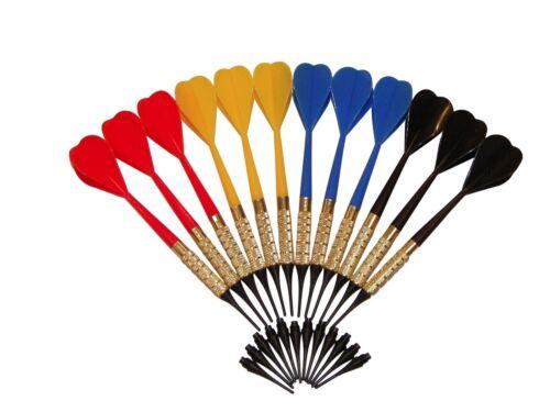 12 Dart Pro Plastic Soft Tip Darts Assorted Colors Pub Bar Darts + 50 Extra Tips