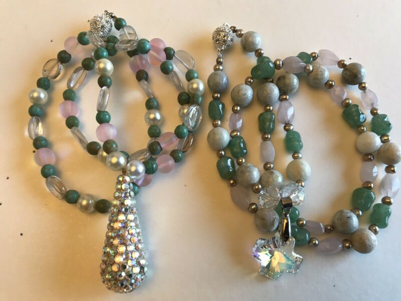 2 Necklace Gift Special! Lots Of Bling! Genuine Gem Stones!