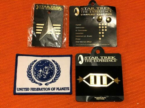 Lot of (3) Star Trek Pins / Insignias Pips & United Federation of Planets Patch