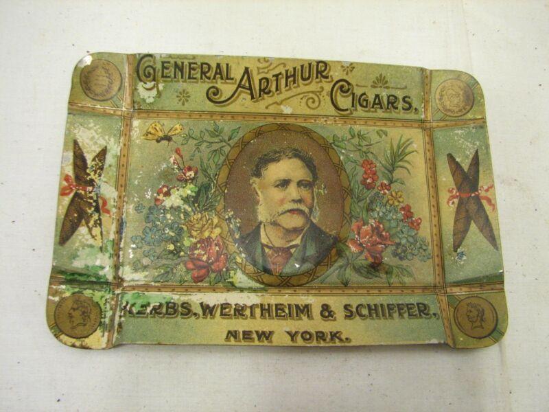 Antique General Arthur Cigars Advertising Tip Tray Schiffer New York Tobacciana