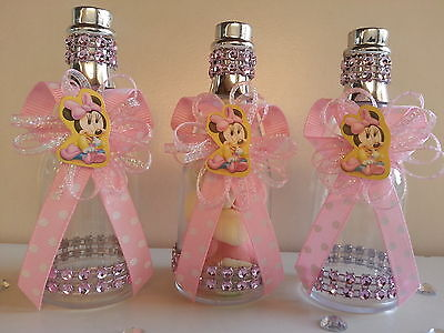 12 Pink Minnie Mouse Fillable Champagne Bottles Baby Shower