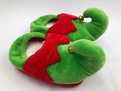 Elf Slippers Kids MEDIUM 2T-3T Green & Red w/ Bells ~ House Shoes