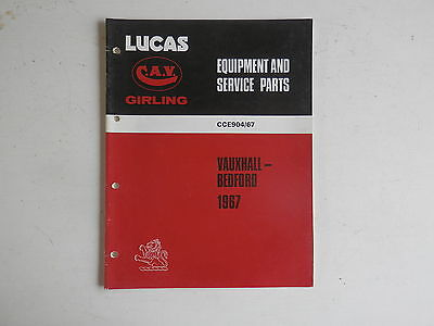 LUCAS Parts List 1967 VAUXHALL BEDFORD cars and commercials