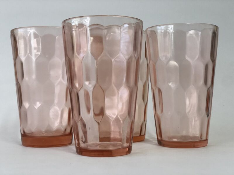 "Vintage Jeannette Pink Hex Optic 5"" Tall Depression Glass Tumblers Set Of 4"