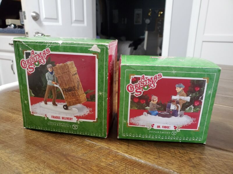 Lot of 2 Department 56 A Christmas Story Village Oh Fudge Fragile Delivery EUC