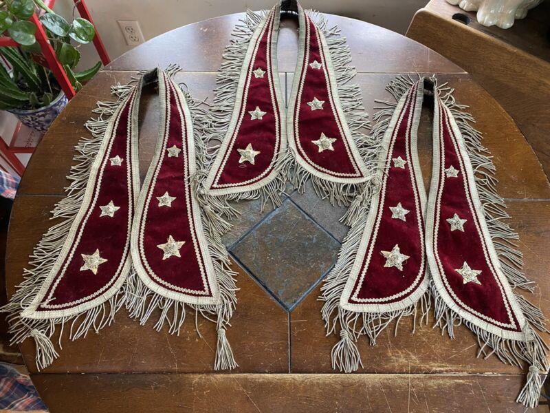 Antique Odd Fellows Officers Collar Sash Red Velvet With Silver Bullion Trim