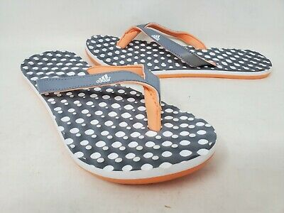 NEW! Adidas Girls Eezay Dots Flip Flops Grey/Orange/White #J220 D5D rr