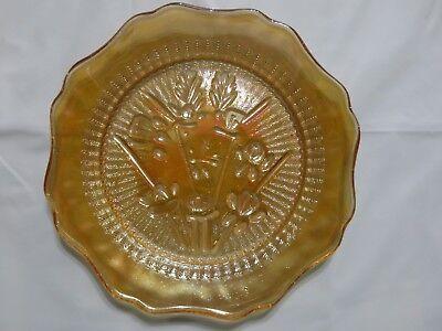 Marigold Saucer (Vintage Carnival Glass Saucer, Iris Iridescent by Jeannette, Marigold, FS )