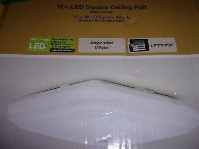 Hampton Bay 12in LED Square Ceiling Puff White Finish 1000 236 636