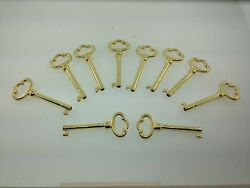 Grandfather clock or Curio cabinet door key set of 10 Brass Finish