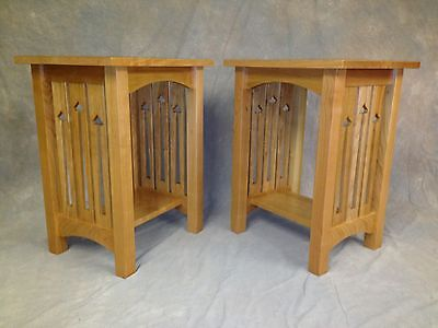 MISSION ARTS & CRAFTS SOLID CHERRY END STAND WITH SIDE SLAT CUTOUTS  Cherry Mission End Table