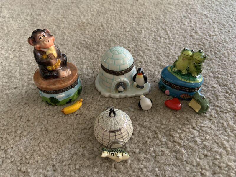 """lot of 4 Trinket Boxes, 2""""-3.5"""", Frog, Penguin, Igloo, Monkey"""