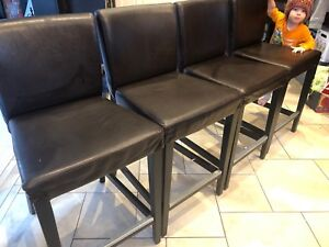 4 x Brown Leather Stools