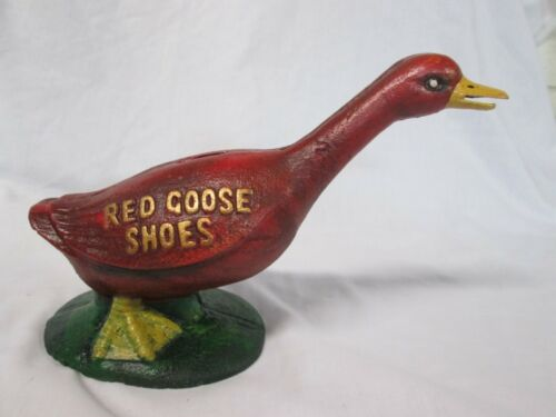 RED GOOSE SHOES Cast Iron Goose Coin Bank