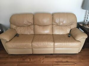 Electric tan leather reclining sofa