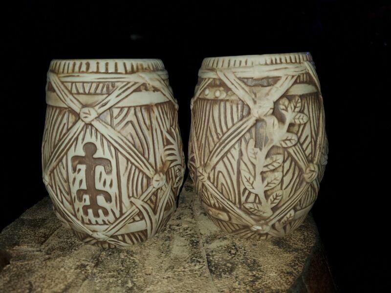Plantation Rum Tiki Mugs 2018 Limited Edition barrel ART BY BAI Set of 2 NEW
