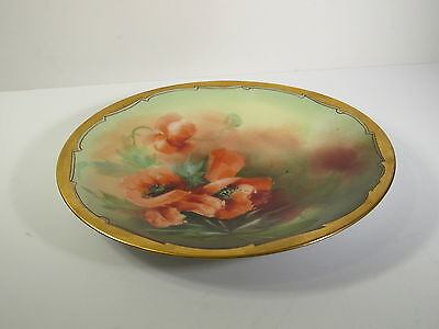 PICKARD HAND PAINTED PORCELAIN 1903-1905 MARK - RED POPPIES -  PLATE - SIGNED TK