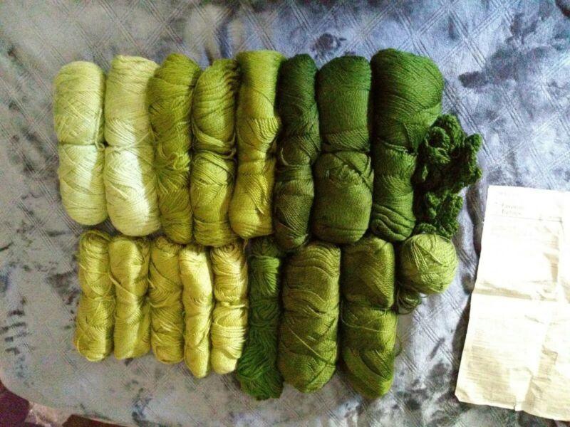 Vintage Green Yarn Crochet Kit Afghan - Shades of Green