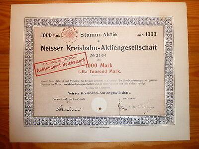 D: BAHN: 1913 ! Neisser Kreisbahn AG, 1000 Mark