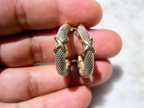 PAIR CLASSIC VTG SOLID STERLING SILVER 14K YELLOW GOLD