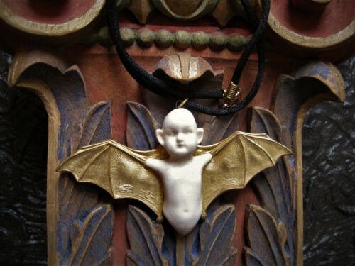 GOTHIC BAT BABY NECKLACE VINTAGE ANTIQUE BRASS MEMENTO MORI