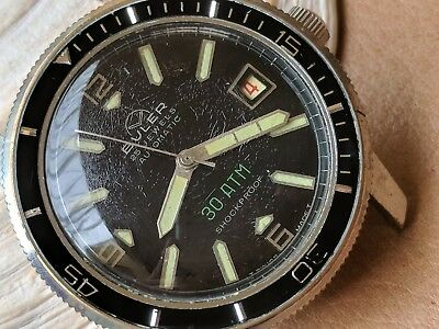 Vintage Buler 30 ATM Divers Watch w/Glossy Black Dial,Warm Patina,Large Case ()
