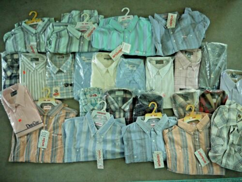 Wholesale Lot 25 NOS Plaid/Solid Western Work Wear Shirt Deadstock Mens Big Tall