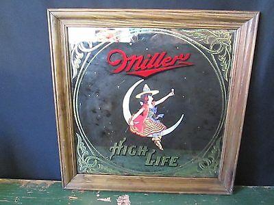 "Vintage 1984 MILLER HIGH LIFE Beer Advertising 18.5"" Sq Lady Moon Framed Mirror"