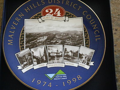 Malvern Hills District Council 24 Years Royal Worcester Plate 1974 - 1998 Ltd Es