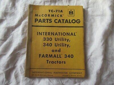 Ih International Farmall 340 330 Tractor Parts Catalog Manual Book