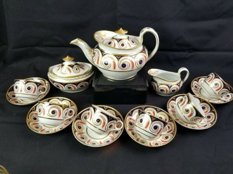 English 19th Century c1810 New Hall #890 Early Porcelain Tea Set Svc For 6